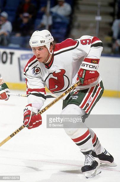 Tom Chorske of the New Jersey Devils skates on the ice during an NHL game against the New York Islanders on April 15 1992 at the Nassau Coliseum in...
