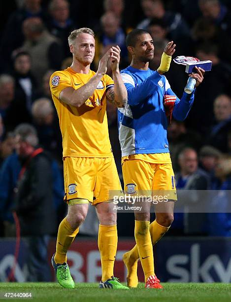 Tom Clarke and Jermaine Beckford of Preston North End applaud their support after the the Sky Bet League One Playoff SemiFinal first leg match...