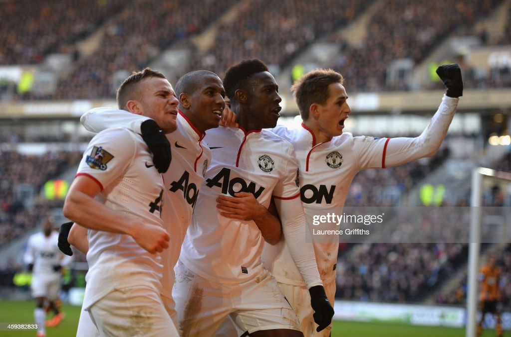 L-R <a gi-track='captionPersonalityLinkClicked' href=/galleries/search?phrase=Tom+Cleverley+-+Soccer+Player&family=editorial&specificpeople=4192565 ng-click='$event.stopPropagation()'>Tom Cleverley</a>, <a gi-track='captionPersonalityLinkClicked' href=/galleries/search?phrase=Ashley+Young&family=editorial&specificpeople=623155 ng-click='$event.stopPropagation()'>Ashley Young</a>, <a gi-track='captionPersonalityLinkClicked' href=/galleries/search?phrase=Danny+Welbeck&family=editorial&specificpeople=4223930 ng-click='$event.stopPropagation()'>Danny Welbeck</a> and <a gi-track='captionPersonalityLinkClicked' href=/galleries/search?phrase=Adnan+Januzaj&family=editorial&specificpeople=8291259 ng-click='$event.stopPropagation()'>Adnan Januzaj</a> of Manchestere United celebrate the third goal during the Barclays Premier League match between Hull City and Manchester United at KC Stadium on December 26, 2013 in Hull, England.