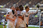 Tom Cleverley Ashley Young Danny Welbeck and Adnan Januzaj of Manchestere United celebrate the third goal during the Barclays Premier League match...