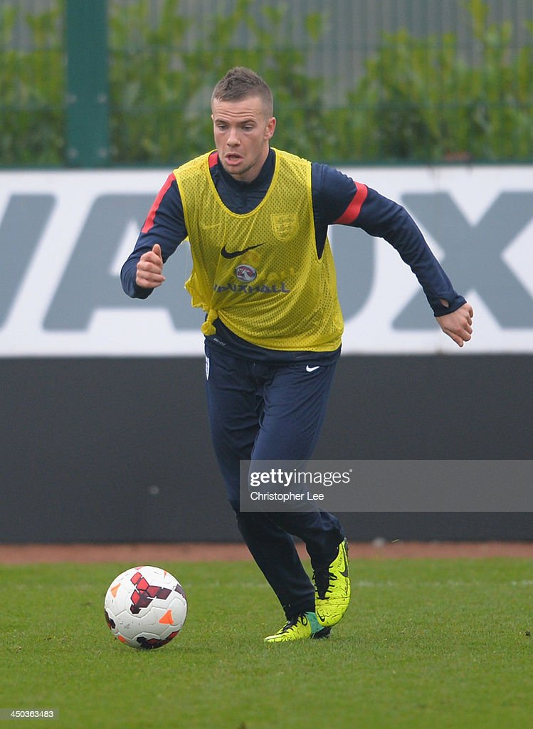 Tom Cleverley in action during England Training at London Colney on November 18, 2013 in St Albans, England.