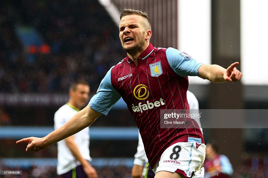 <a gi-track='captionPersonalityLinkClicked' href=/galleries/search?phrase=Tom+Cleverley&family=editorial&specificpeople=4192565 ng-click='$event.stopPropagation()'>Tom Cleverley</a> of Aston Villa celebrates his team's third goal during the Barclays Premier League match between Aston Villa and Everton at Villa Park on May 2, 2015 in Birmingham, England.