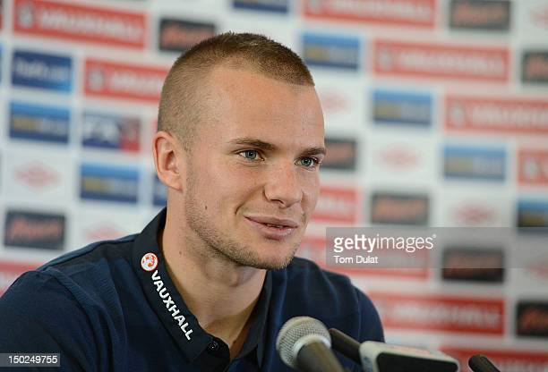 Tom Cleverley of England speaks to the media during an England Press Conference at The Grove Hotel on August 13 2012 in Watford England