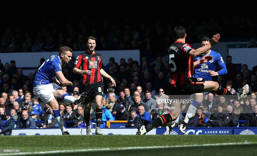 Tom Cleverley of Everton scores his team's first goal during the Barclays Premier League match between Everton and A.F.C. Bournemouth at Goodison Park on April 30, 2016 in Liverpool, England.