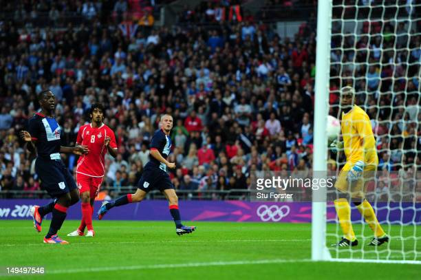 Tom Cleverley of Great Britain hits the post during the Men's Football first round Group A Match between Great Britain and United Arab Emirates on...