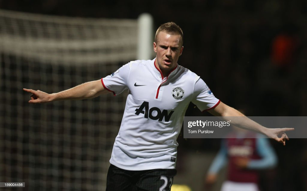 <a gi-track='captionPersonalityLinkClicked' href=/galleries/search?phrase=Tom+Cleverley&family=editorial&specificpeople=4192565 ng-click='$event.stopPropagation()'>Tom Cleverley</a> of Manchester United celebrates scoring their first goal during the FA Cup Third Round match between West Ham United and Manchester United at Boleyn Ground on January 5, 2013 in London, England.