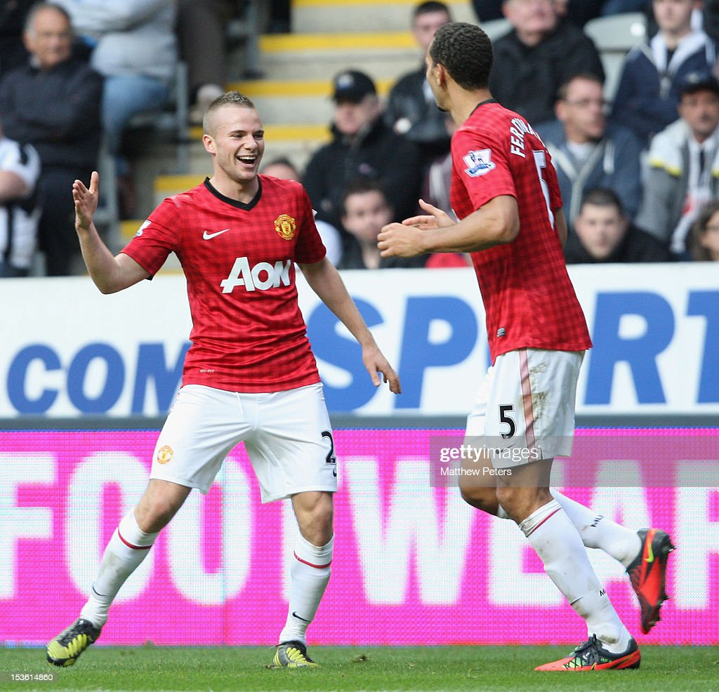 Tom Cleverley (L) of Manchester United celebrates scoring their third goal during the Barclays Premier League match between Newcastle United and Manchester United at Sports Direct Arena on October 7, 2012 in Newcastle upon Tyne, England.