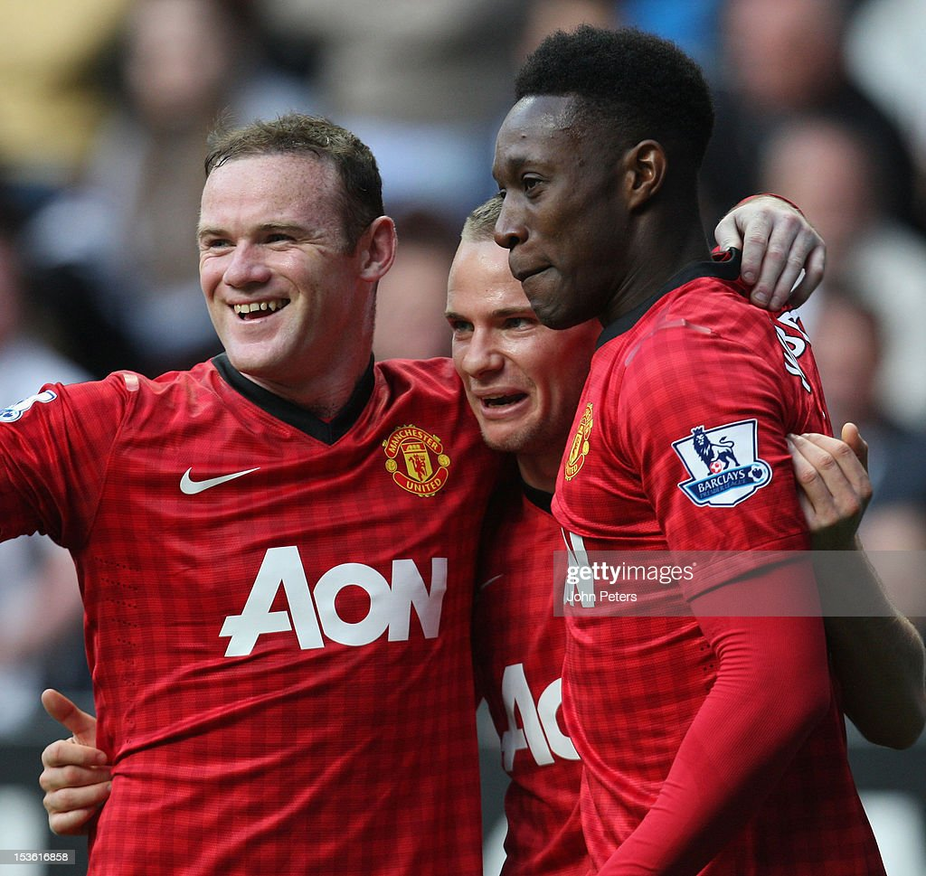 <a gi-track='captionPersonalityLinkClicked' href=/galleries/search?phrase=Tom+Cleverley&family=editorial&specificpeople=4192565 ng-click='$event.stopPropagation()'>Tom Cleverley</a> (C) of Manchester United celebrates scoring their third goal during the Barclays Premier League match between Newcastle United and Manchester United at Sports Direct Arena on October 7, 2012 in Newcastle upon Tyne, England.