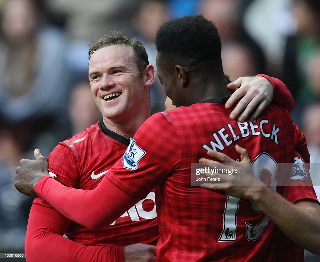 <a gi-track='captionPersonalityLinkClicked' href=/galleries/search?phrase=Tom+Cleverley&family=editorial&specificpeople=4192565 ng-click='$event.stopPropagation()'>Tom Cleverley</a> (hidden) of Manchester United celebrates scoring their third goal during the Barclays Premier League match between Newcastle United and Manchester United at Sports Direct Arena on October 7, 2012 in Newcastle upon Tyne, England.