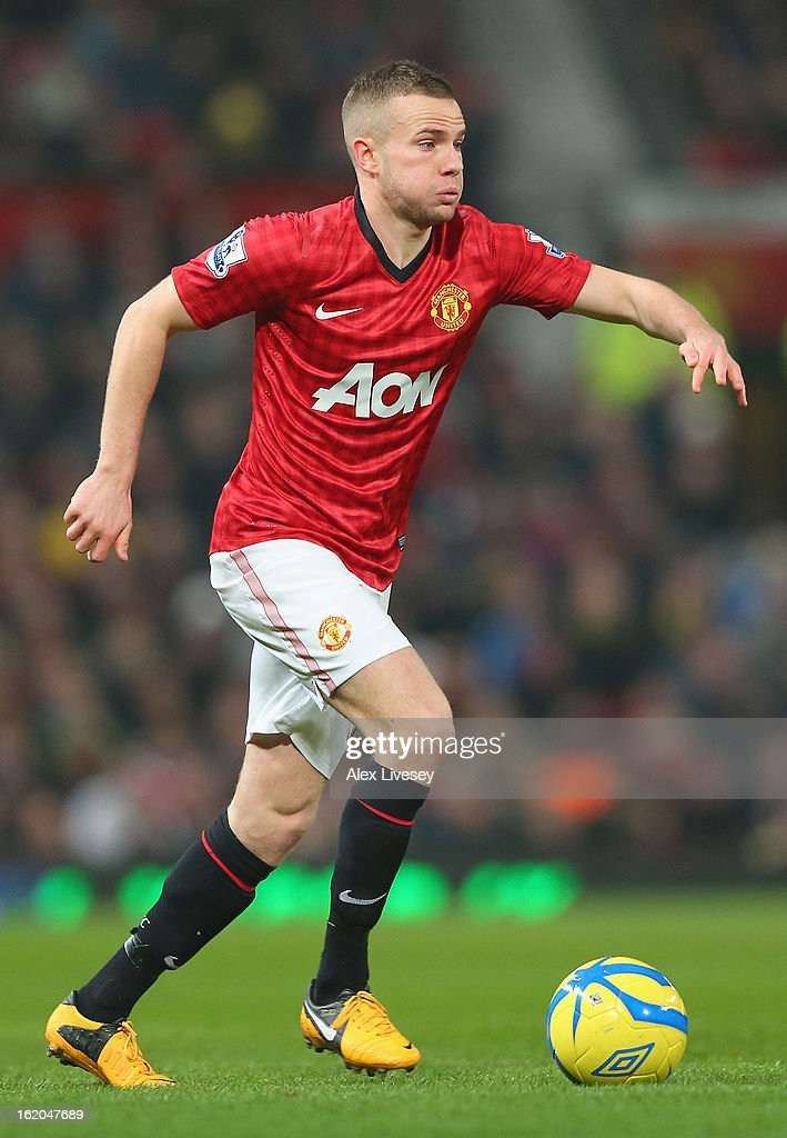 <a gi-track='captionPersonalityLinkClicked' href=/galleries/search?phrase=Tom+Cleverley+-+Soccer+Player&family=editorial&specificpeople=4192565 ng-click='$event.stopPropagation()'>Tom Cleverley</a> of Manchester United during the FA Cup Fifth Round match between Manchester United and Reading at Old Trafford on February 18, 2013 in Manchester, England.
