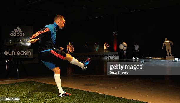 Tom Cleverley of Manchester United in action at the launch of the new adidas Predator Lethal Zones football boot The boot designed with five deadly...