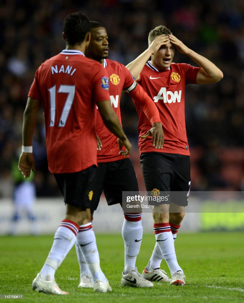 <a gi-track='captionPersonalityLinkClicked' href=/galleries/search?phrase=Tom+Cleverley&family=editorial&specificpeople=4192565 ng-click='$event.stopPropagation()'>Tom Cleverley</a> of Manchester United reacts during the Barclays Premier League match between Wigan Athletic and Manchester United at DW Stadium on April 11, 2012 in Wigan, England.