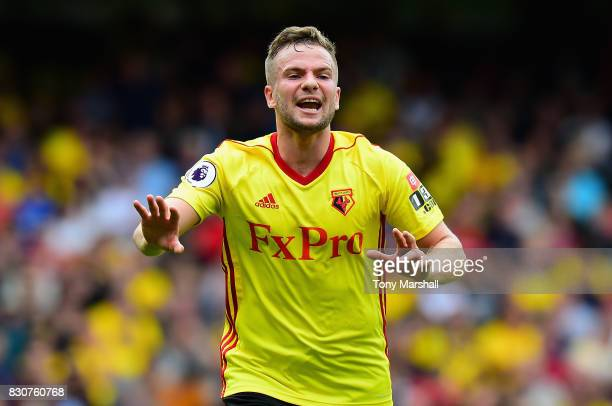 Tom Cleverley of Watford during the Premier League match between Watford and Liverpool at Vicarage Road on August 12 2017 in Watford England
