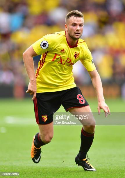 Tom Cleverley of Watford in action during the during the Premier League match between Watford and Liverpool at Vicarage Road on August 12 2017 in...