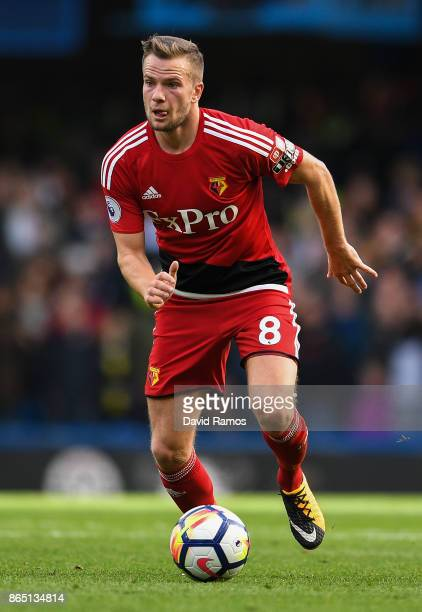 Tom Cleverley of Watford runs with the ball during the Premier League match between Chelsea and Watford at Stamford Bridge on October 21 2017 in...