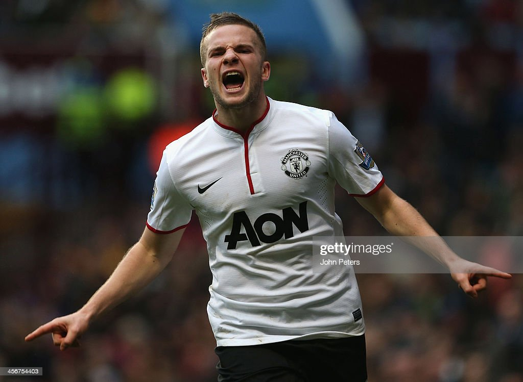 Tom Cleverly of Manchester United celebrates scoring their third goal during the Barclays Premier League match between Aston Villa and Manchester United at Villa Park on December 15, 2013 in Birmingham, England.