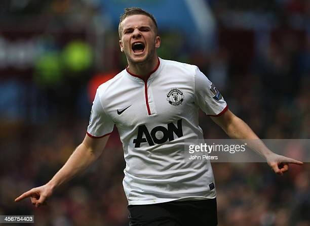 Tom Cleverly of Manchester United celebrates scoring their third goal during the Barclays Premier League match between Aston Villa and Manchester...