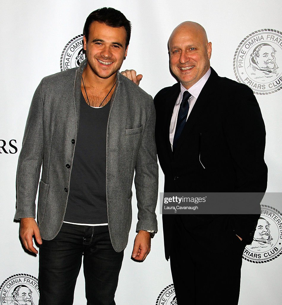 <a gi-track='captionPersonalityLinkClicked' href=/galleries/search?phrase=Tom+Colicchio&family=editorial&specificpeople=4167072 ng-click='$event.stopPropagation()'>Tom Colicchio</a> (R) and Emin attend The Friars Club Presents: Do You Think You Can Roast?! Padma Lakshmi at New York Friars Club on February 1, 2013 in New York City.