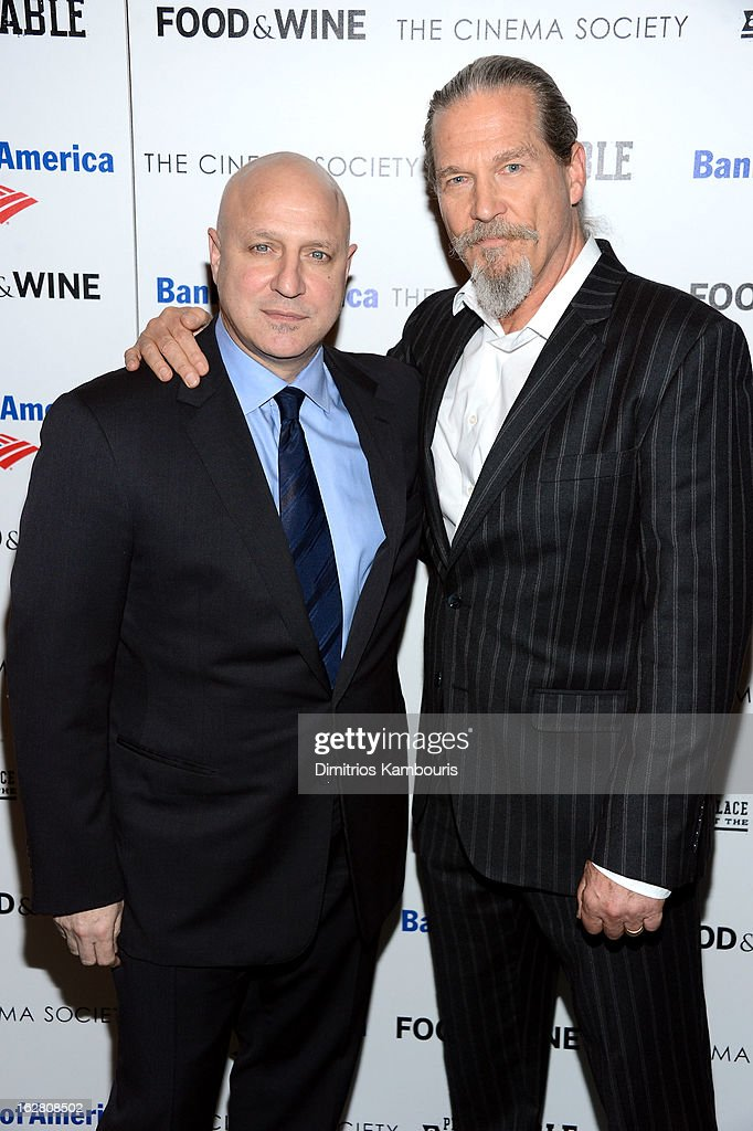 Tom Colicchio and Jeff Bridges attend the Bank of America and Food Wine with The Cinema Society screening of 'A Place at the Table' at Museum of...