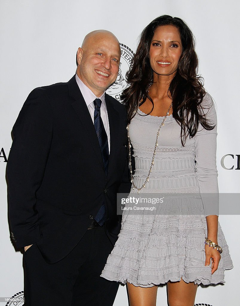 Tom Colicchio and Padma Lakshmi attend The Friars Club Presents: Do You Think You Can Roast?! Padma Lakshmi at New York Friars Club on February 1, 2013 in New York City.