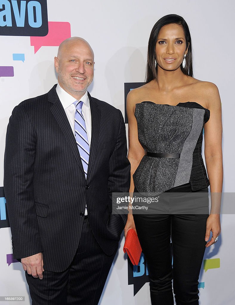 <a gi-track='captionPersonalityLinkClicked' href=/galleries/search?phrase=Tom+Colicchio&family=editorial&specificpeople=4167072 ng-click='$event.stopPropagation()'>Tom Colicchio</a> and <a gi-track='captionPersonalityLinkClicked' href=/galleries/search?phrase=Padma+Lakshmi&family=editorial&specificpeople=201593 ng-click='$event.stopPropagation()'>Padma Lakshmi</a> attends the 2013 Bravo New York Upfront at Pillars 37 Studios on April 3, 2013 in New York City.