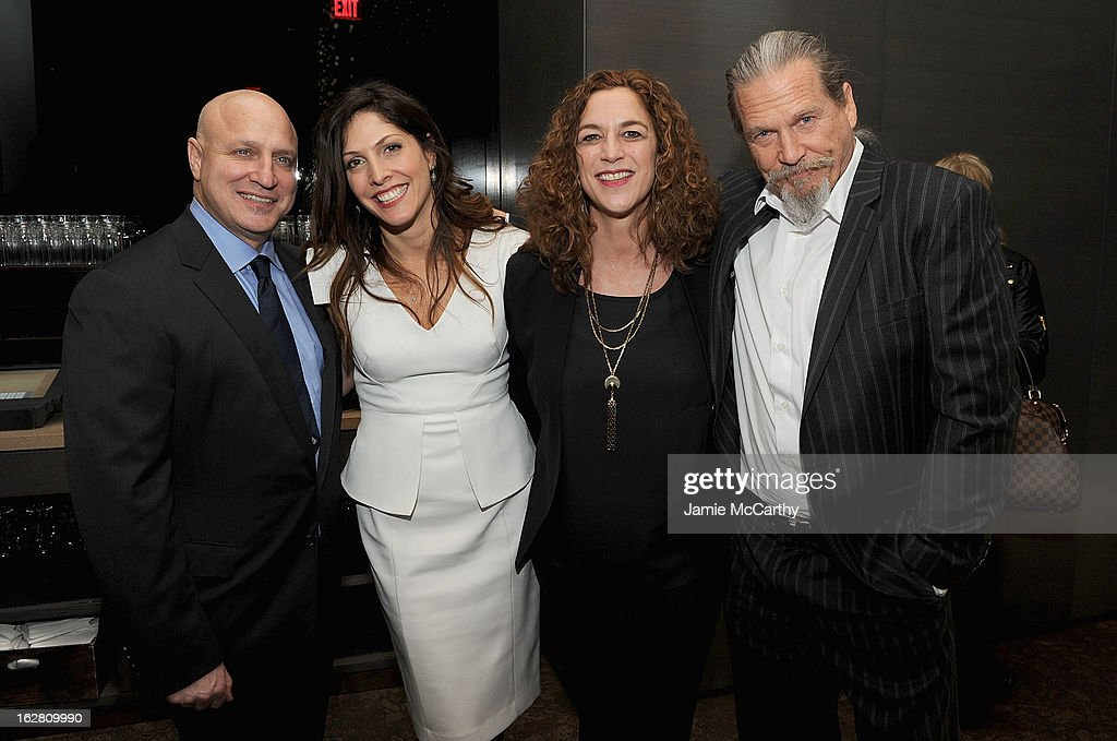 <a gi-track='captionPersonalityLinkClicked' href=/galleries/search?phrase=Tom+Colicchio&family=editorial&specificpeople=4167072 ng-click='$event.stopPropagation()'>Tom Colicchio</a>,Co producers/directors <a gi-track='captionPersonalityLinkClicked' href=/galleries/search?phrase=Lori+Silverbush&family=editorial&specificpeople=772818 ng-click='$event.stopPropagation()'>Lori Silverbush</a>, Kristi Jacobson and Jeff Bridges attend the Bank Of America And Food & Wine With The Cinema Society Screening Of 'A Place At The Table' After Party at Riverpark on February 27, 2013 in New York City.