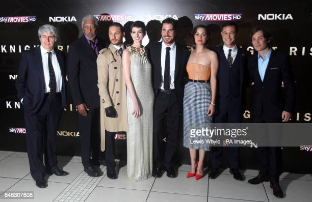 Tom Conti Morgan Freeman Tom Hardy Anne Hathaway Christian Bale Marion Cotillard Joseph GordonLevitt and Cillian Murphy arrive at the premiere of the...