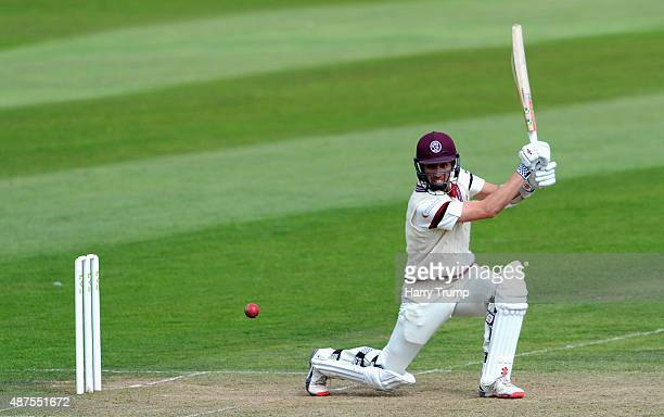 Tom Cooper of Somerset drives at the Somerset v Hampshire LV County Championship match at The County Ground on September 10 2015 in Taunton England