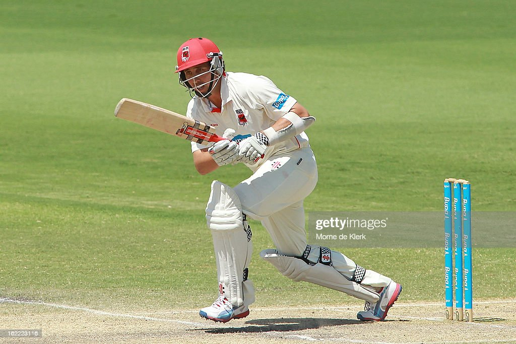 Tom Cooper of the Redbacks bats during day three of the Sheffield Shield match between the South Australian Redbacks and the New South Wales Blues at Adelaide Oval on February 21, 2013 in Adelaide, Australia.