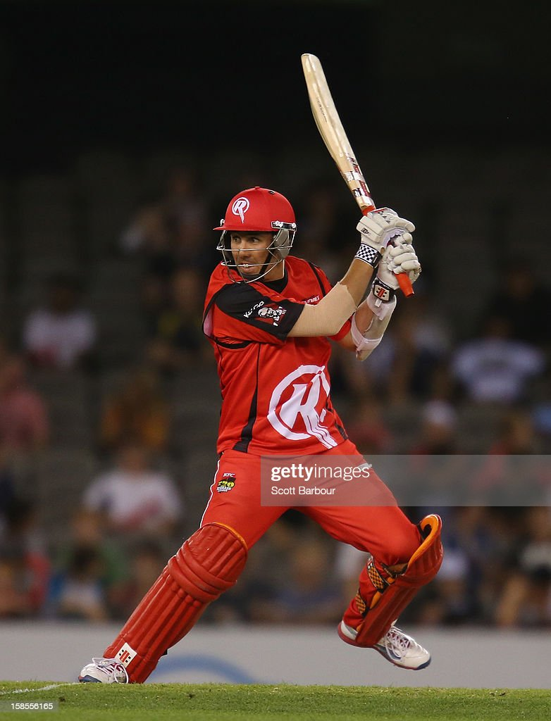 Tom Cooper of the Renegades bats during the Big Bash League match between the Melbourne Renegades and the Hobart Hurricanes at Etihad Stadium on December 19, 2012 in Melbourne, Australia.