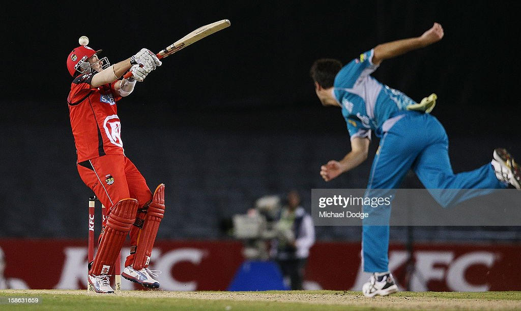 Tom Cooper of the Renegades misses a shot off the bowling of Ben Cutting of the Heat during the Big Bash League match between the Melbourne Renegades and the Brisbane Heat at Etihad Stadium on December 22, 2012 in Melbourne, Australia.