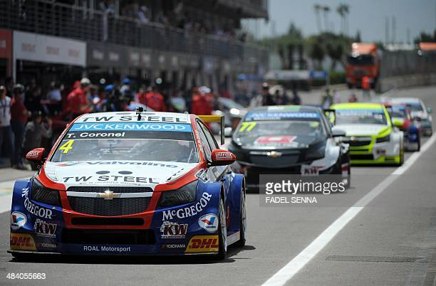 Tom coronel of the Netherlands steers his car during a training session as part of the FIA World Touring Car Championship on April 11 2014 at the...
