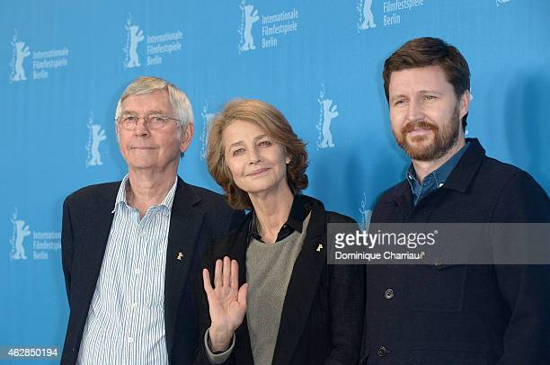 Tom Courtenay Charlotte Rampling and Andrew Haigh attend the '45 Years' photocall during the 65th Berlinale International Film Festival at Grand...