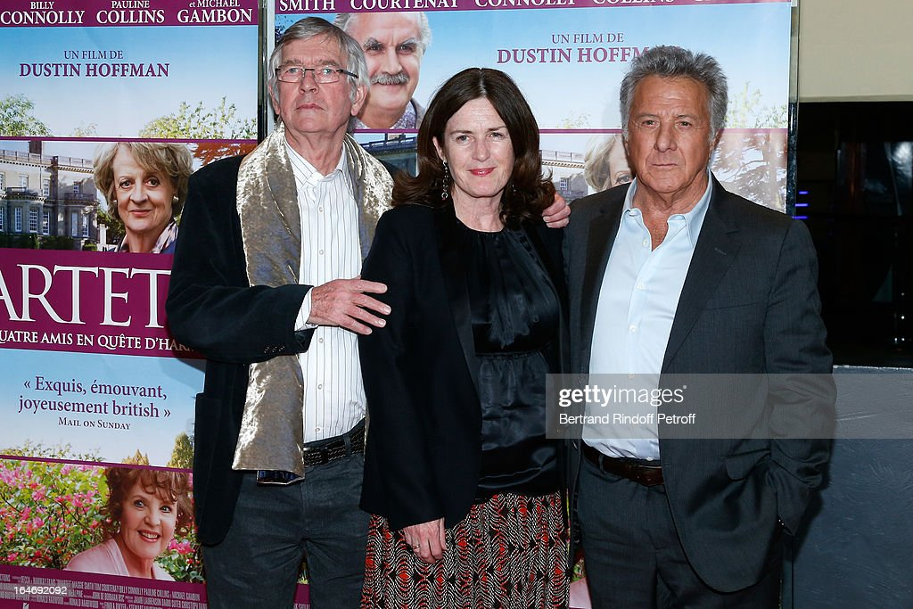 Tom Courtenay, producer Finola Dwyer and director Dustin Hoffman attend 'Quartet' movie premiere, held at UGC Cine Cite les Halles on March 26, 2013 in Paris, France.