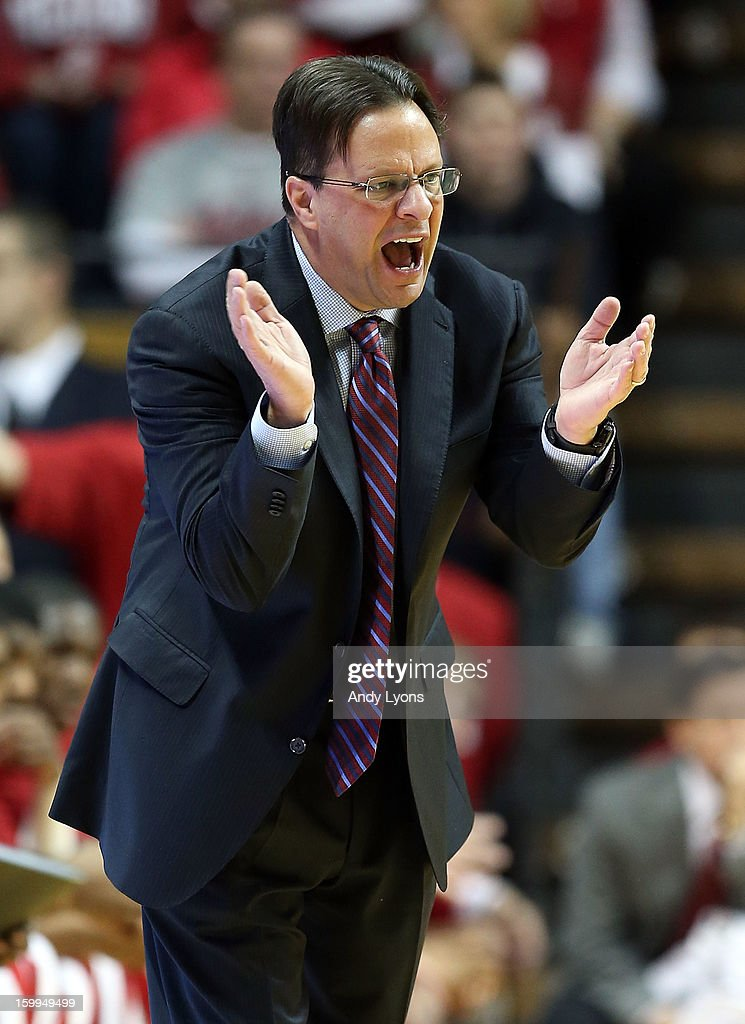 Tom Crean the head coach of the Indiana Hoosiers gives instructions to his team during the game against the Penn State Nittany Lions at Assembly Hall on January 23, 2013 in Bloomington, Indiana.