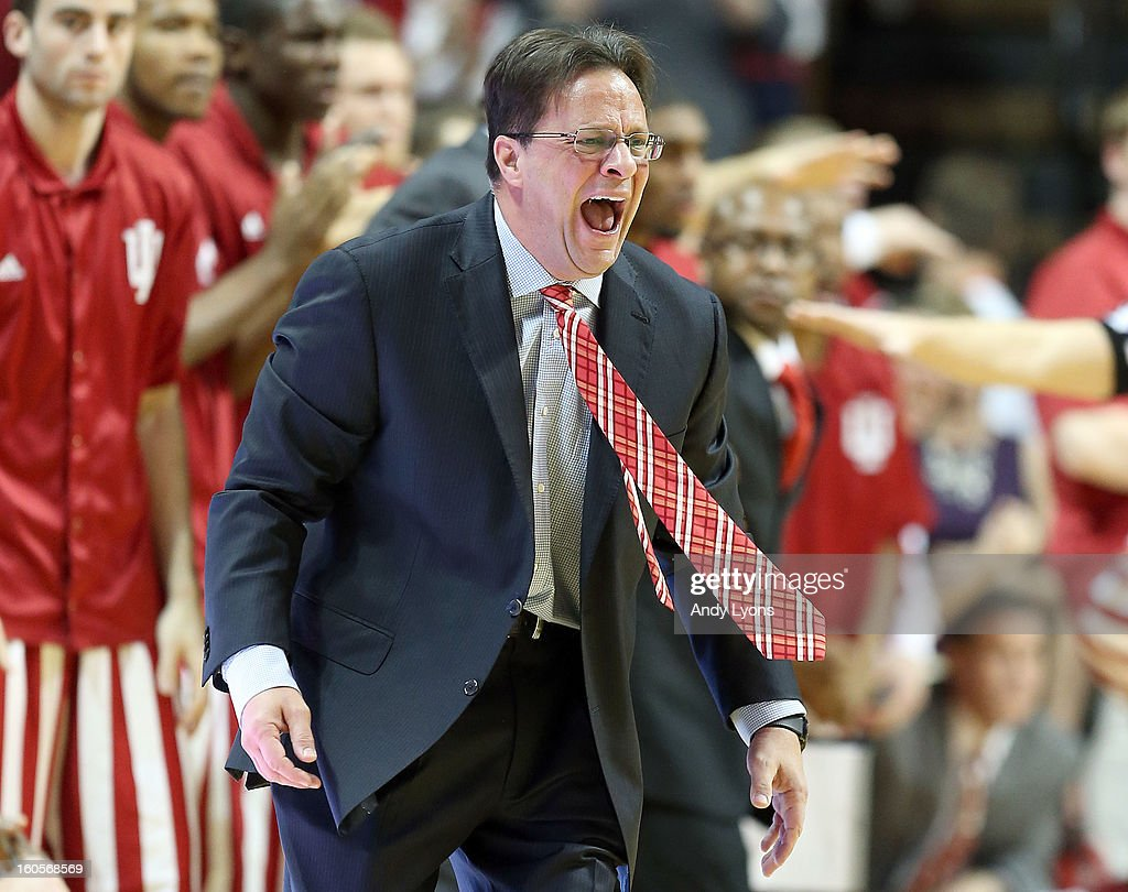 Tom Crean the head coach of the Indiana Hoosiers gives instructions to his team during the game against the Michigan Wolverines at Assembly Hall on February 2, 2013 in Bloomington, Indiana.