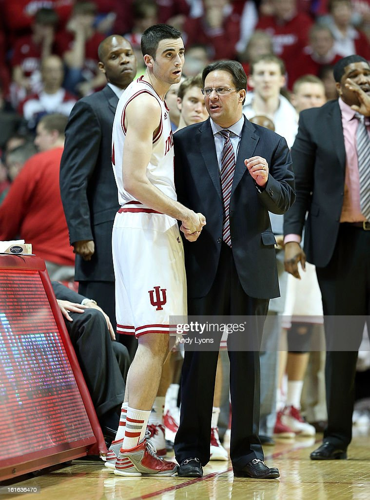 Tom Crean the head coach of the Indiana Hoosiers gives instructions to Will Sheehey #0 during the game against the Nebraska Cornhuskers at Assembly Hall on February 13, 2013 in Bloomington, Indiana.