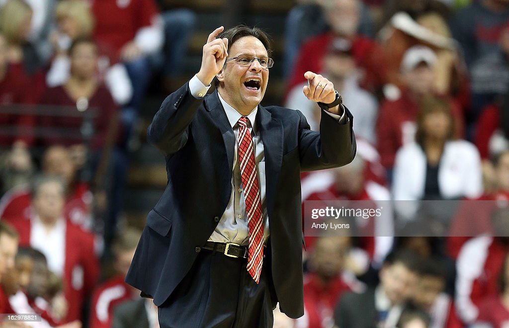 Tom Crean the head coach of the Indiana Hoosiers gives instructions to his team during the game against the Iowa Hawkeyes at Assembly Hall on March 2, 2013 in Bloomington, Indiana.