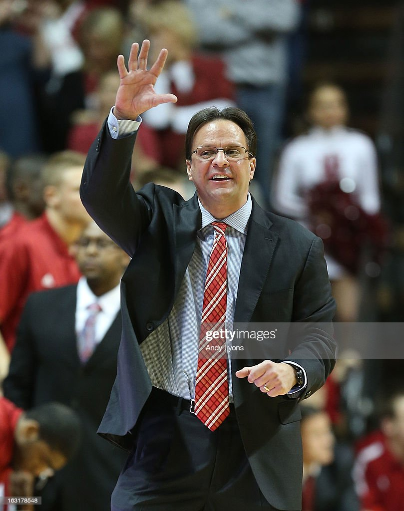 Tom Crean the head coach of the Indiana Hoosiers gives instructions to his team during the game against the Ohio State Buckeyes at Assembly Hall on March 5, 2013 in Bloomington, Indiana.