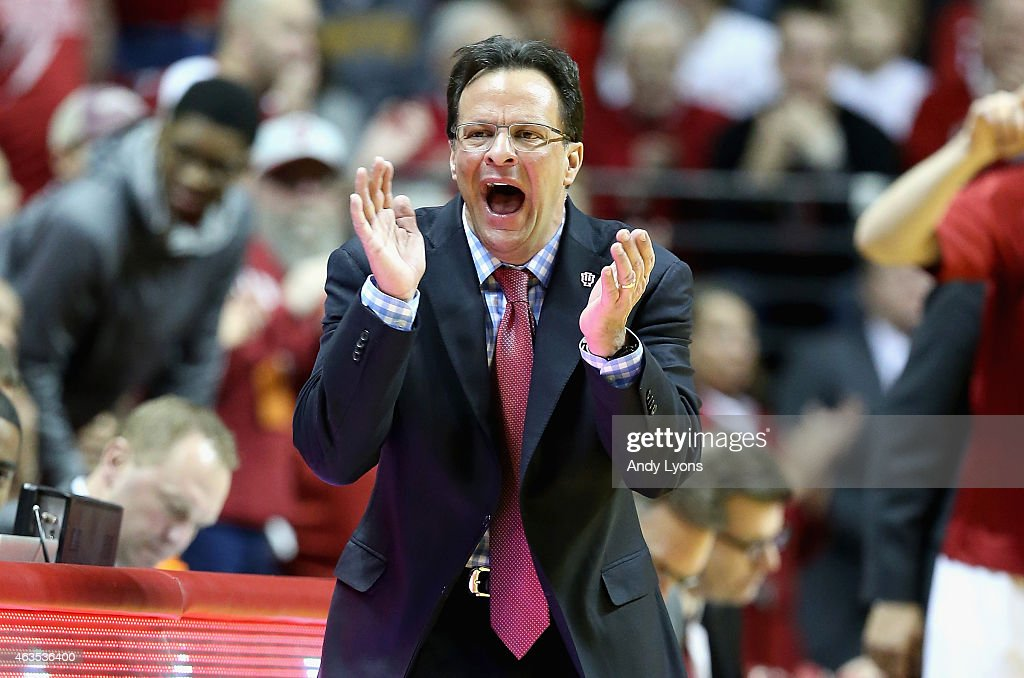 <a gi-track='captionPersonalityLinkClicked' href=/galleries/search?phrase=Tom+Crean+-+Basketball+Coach&family=editorial&specificpeople=10060688 ng-click='$event.stopPropagation()'>Tom Crean</a> the head coach of the Indiana Hoosiers gives instructions to his team during the game against the Minnesota Golden Golphers at Assembly Hall on February 15, 2015 in Bloomington, Indiana.