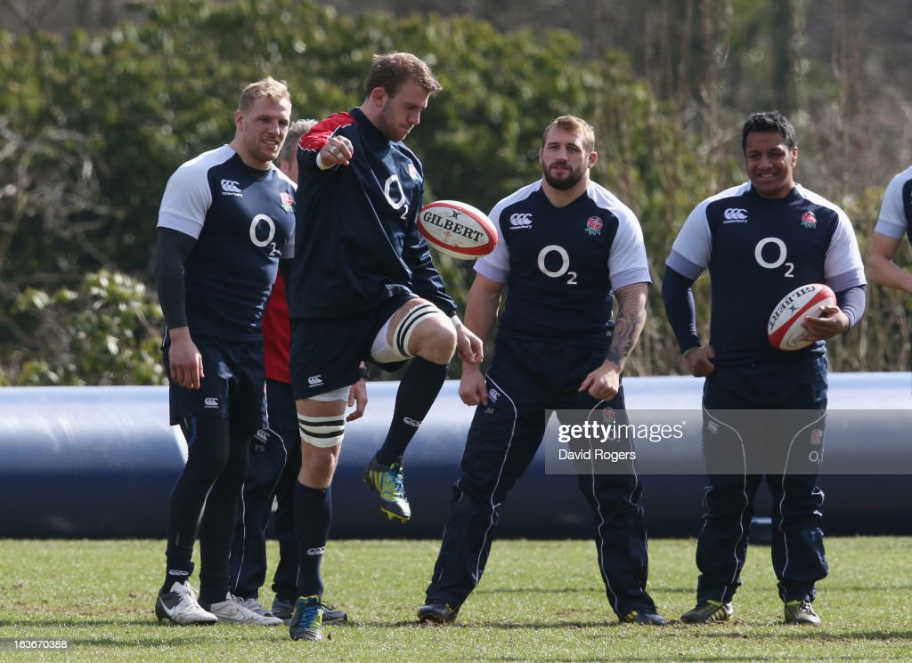 Tom Croft juggles the ball during the England training session at Pennyhill Park on March 14, 2013 in Bagshot, England.