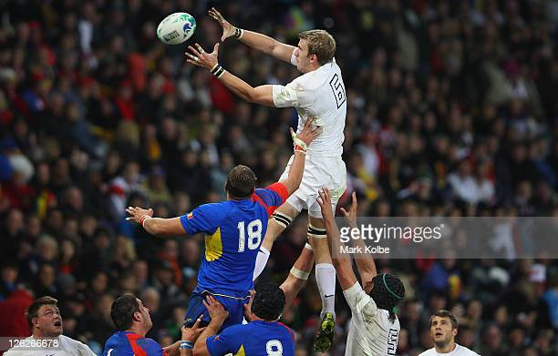 Tom Croft of England wins the line out ball during the IRB 2011 Rugby World Cup Pool B match between England and Romania at Otago Stadium on...