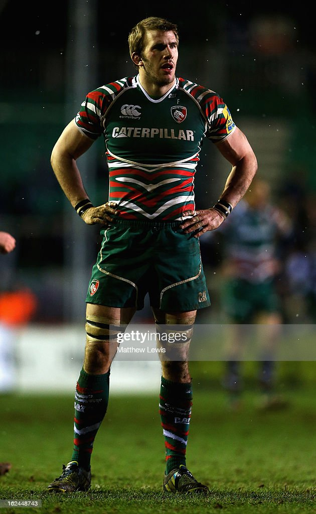<a gi-track='captionPersonalityLinkClicked' href=/galleries/search?phrase=Tom+Croft&family=editorial&specificpeople=672626 ng-click='$event.stopPropagation()'>Tom Croft</a> of Leicester in action during the Aviva Premiership match between Leicester Tigers and Saracens at Welford Road on February 23, 2013 in Leicester, England.