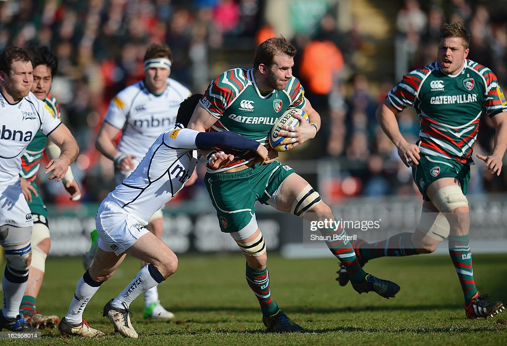 <a gi-track='captionPersonalityLinkClicked' href=/galleries/search?phrase=Tom+Croft&family=editorial&specificpeople=672626 ng-click='$event.stopPropagation()'>Tom Croft</a> of Leicester Tigers is tackled by Cillian Willis of Sale Sharks during the Aviva Premiership match between Leicester Tigers and Sale Sharks at Welford Road on March 2, 2013 in Leicester, England.