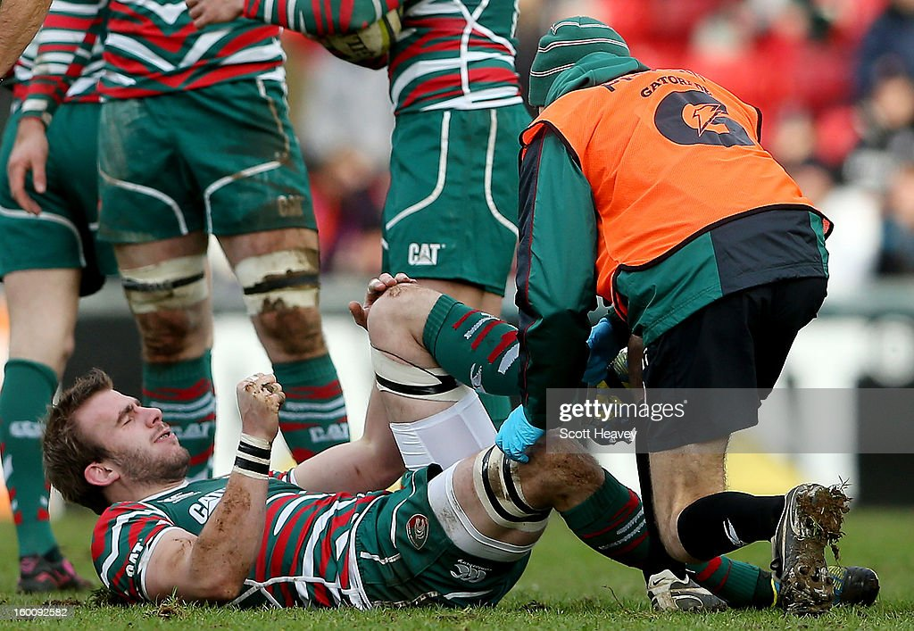 Tom Croft of Leicester Tigers lies injured during the LV=Cup match between Leicetser Tigers and London Wasps at Welford Road on January 26, 2013 in Leicester, England.