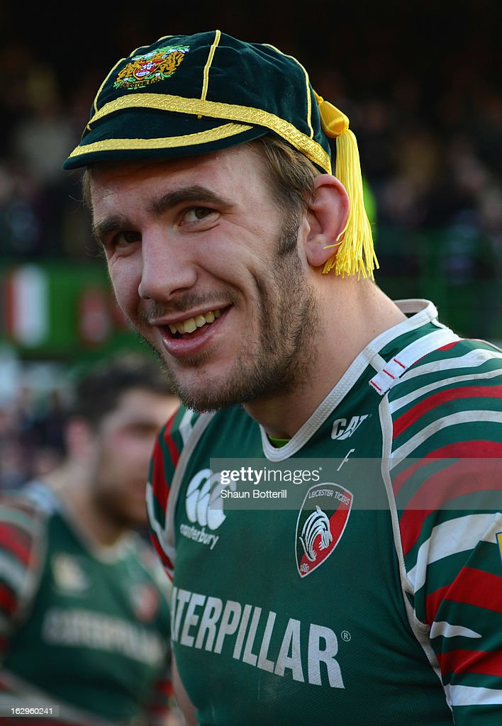 <a gi-track='captionPersonalityLinkClicked' href=/galleries/search?phrase=Tom+Croft&family=editorial&specificpeople=672626 ng-click='$event.stopPropagation()'>Tom Croft</a> of Leicester Tigers makes his 100th cap during the Aviva Premiership match between Leicester Tigers and Sale Sharks at Welford Road on March 2, 2013 in Leicester, England.