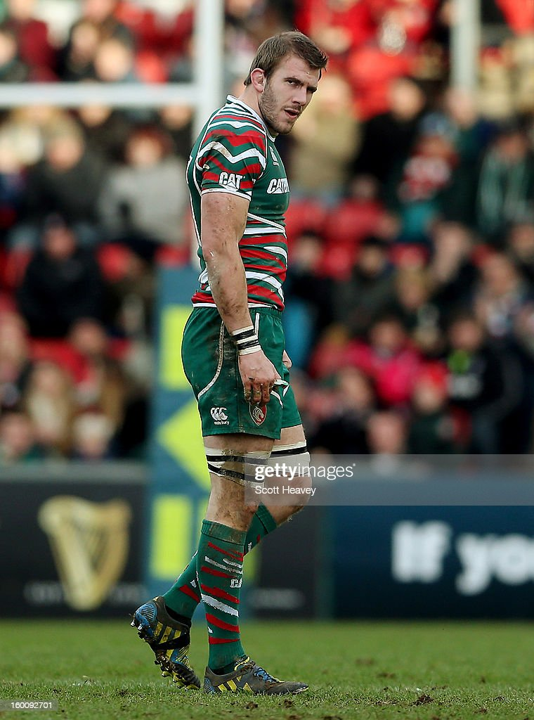 <a gi-track='captionPersonalityLinkClicked' href=/galleries/search?phrase=Tom+Croft&family=editorial&specificpeople=672626 ng-click='$event.stopPropagation()'>Tom Croft</a> of Leicester Tigers walks off after being injured during the LV=Cup match between Leicetser Tigers and London Wasps at Welford Road on January 26, 2013 in Leicester, England.
