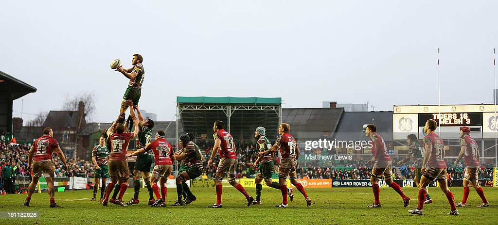 <a gi-track='captionPersonalityLinkClicked' href=/galleries/search?phrase=Tom+Croft&family=editorial&specificpeople=672626 ng-click='$event.stopPropagation()'>Tom Croft</a> of Leicester Tigers wins a lineout during the Aviva Premiership match between Leicester Tigers and London Welsh at Welford Road on February 9, 2013 in Leicester, England.