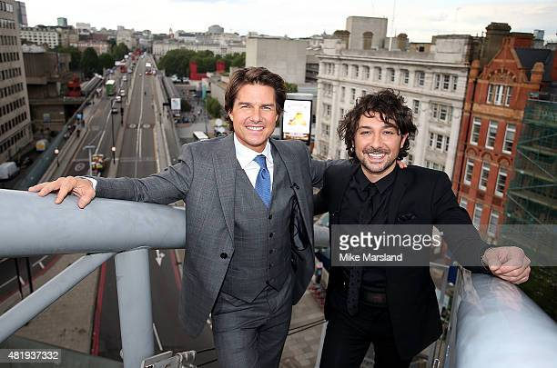 Tom Cruise and Alex Zane on the roof of the IMAX cinema as he attends the UK Fan Screening of 'Mission Impossible Rogue Nation' at the IMAX Waterloo...
