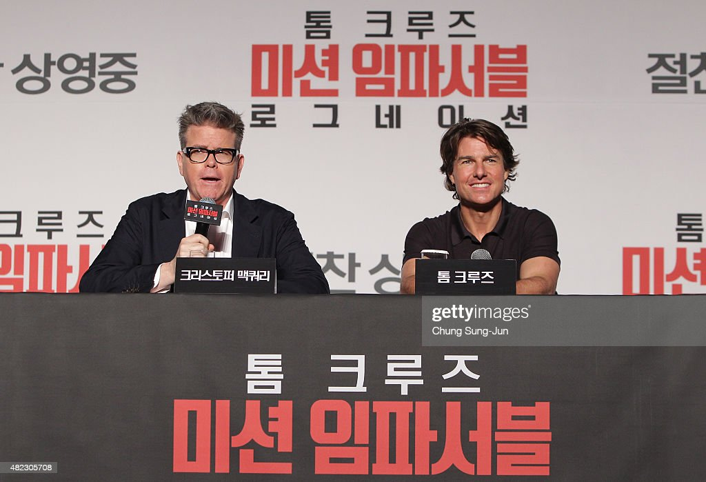 Tom Cruise and Christopher McQuarrie attend the Press Conference and Photocall of 'Mission: Impossible - Rogue Nation' at the Grand Intercontinental Seoul Hotel at on July 30, 2015 in Seoul, South Korea.